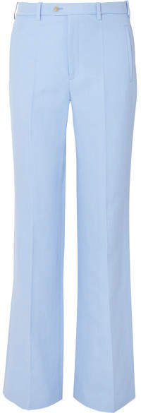 Kosta Ramie And Cotton-blend Straight-leg Pants - Sky blue