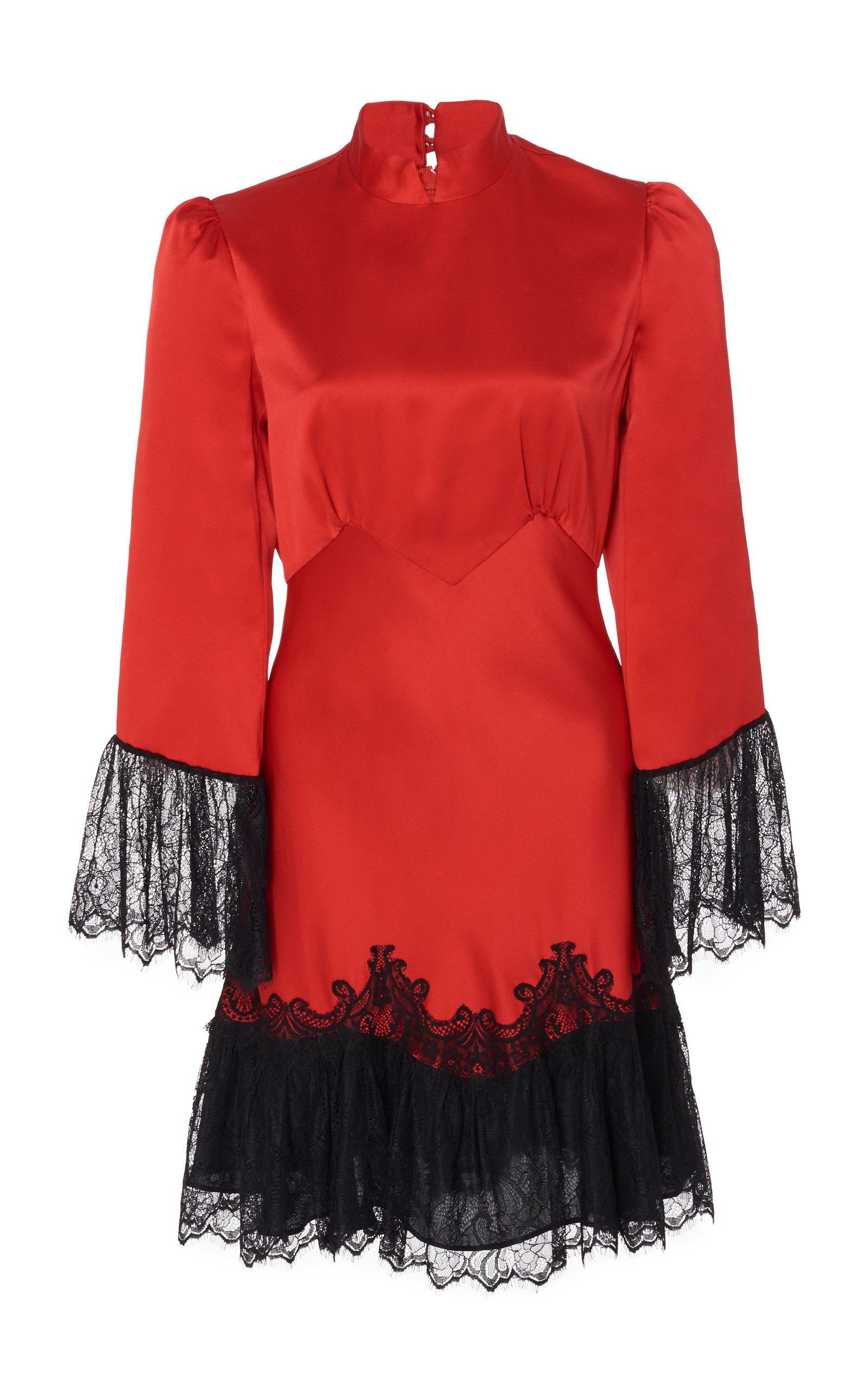 Saloni Corinne B Scarlet Silk Mini Dress