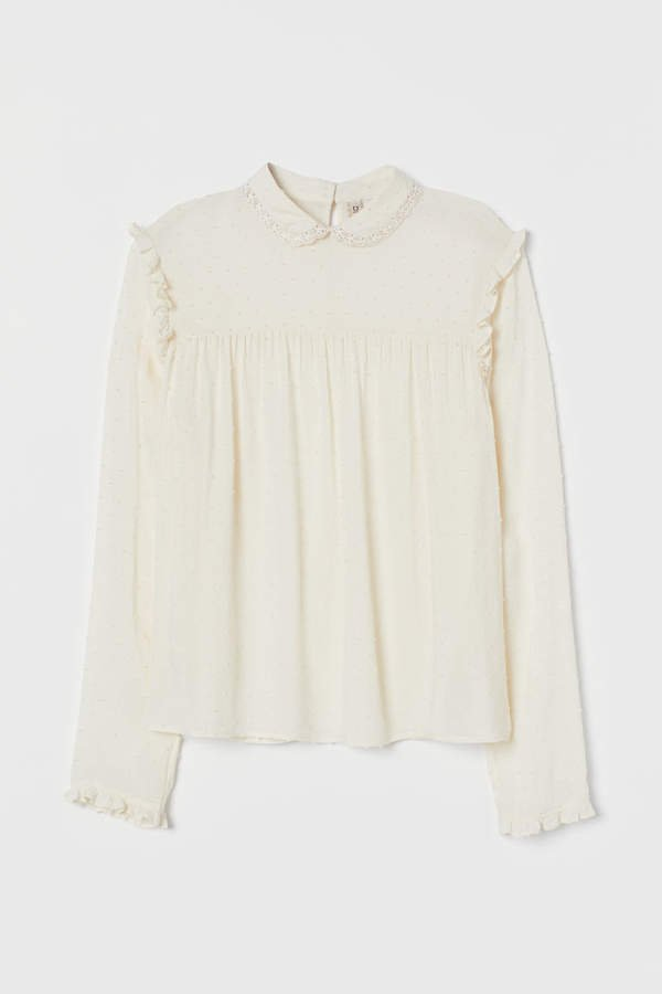 Blouse with Ruffle - White