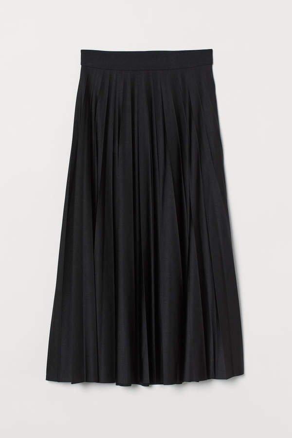 Pleated Jersey Skirt - Black