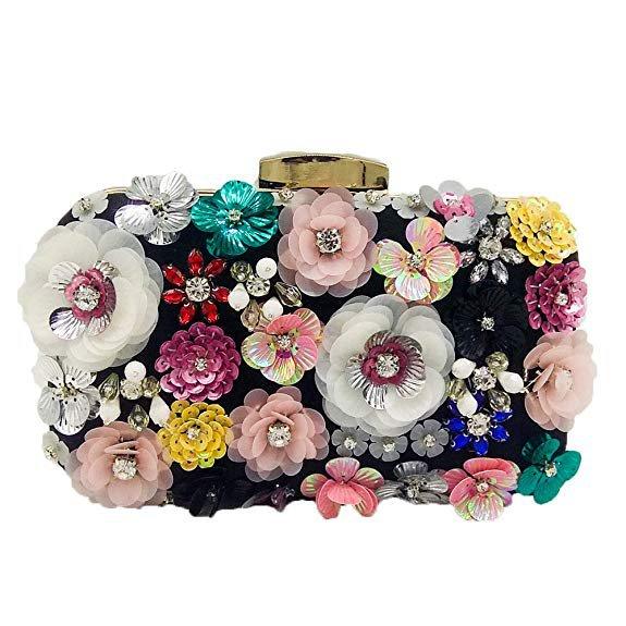 Black Vintage Women Flower Clutch Purse Evening Bags and Clutches Bridal Wedding Party Handbags: Handbags: Amazon.com