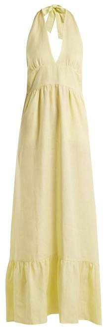 Loup Charmant - Farrah Linen Hatlerneck Dress - Womens - Light Yellow