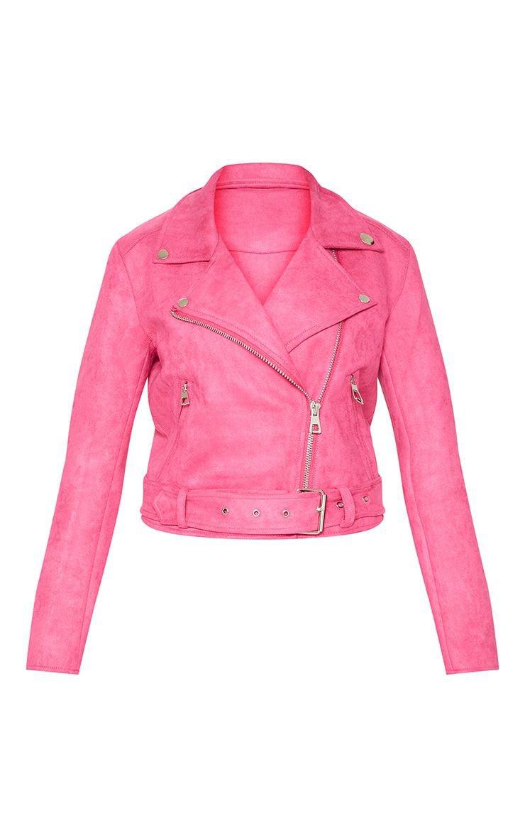 Pink Faux Seude Biker Jacket | PrettyLittleThing USA