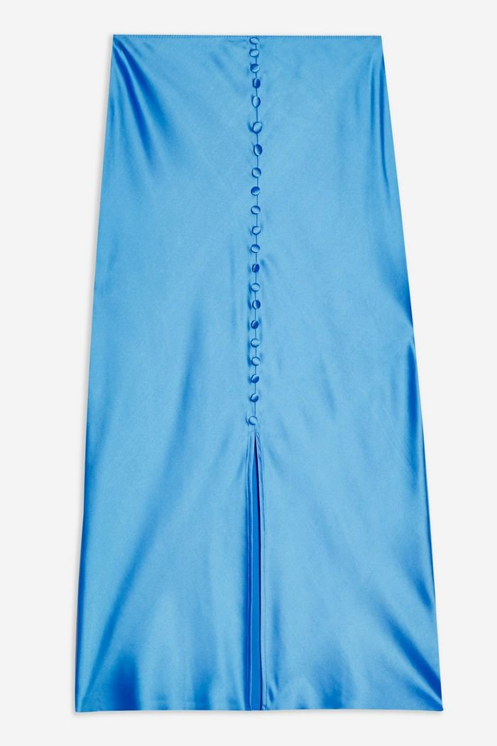 Blue Button Through Satin Bias Skirt | Topshop