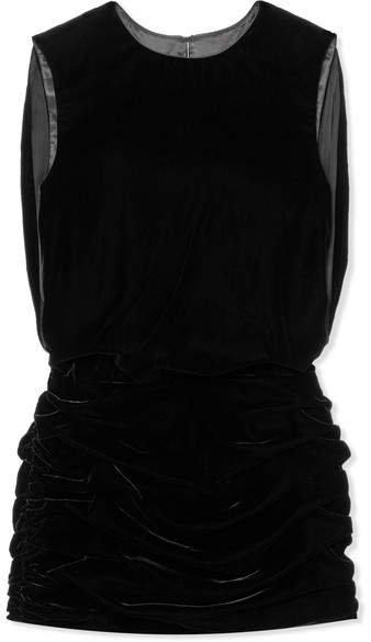 Ruched Velvet Mini Dress - Black