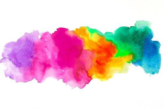 Bright Rainbow Watercolor Blot