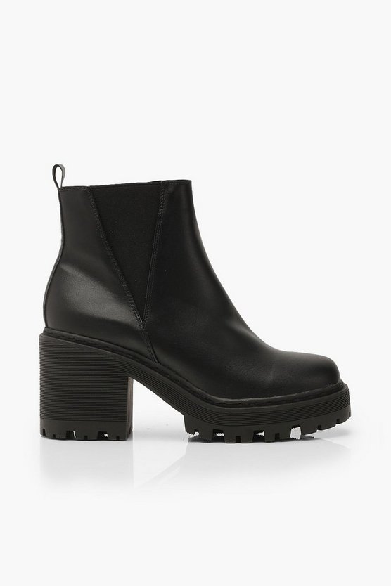 Wide Fit Cleated Block Heel Chelsea Boots | Boohoo