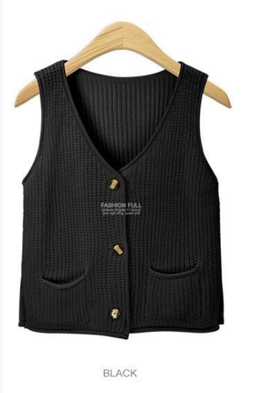 2018 Burgundy Sweater Vest Cardigan Women V Neck Buttons Pockets Knitted Tricot Beige Black Gray Green C79904 From Zanzibar, $37.87 | Dhgate.Com