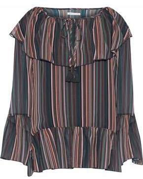 Ruffled Striped Chiffon Top