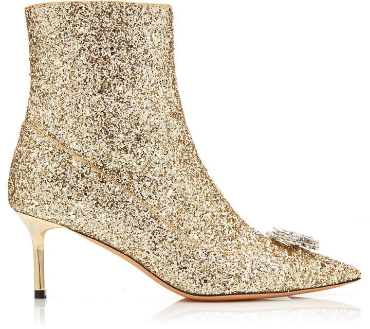 R' Embellished Leather Ankle Boots