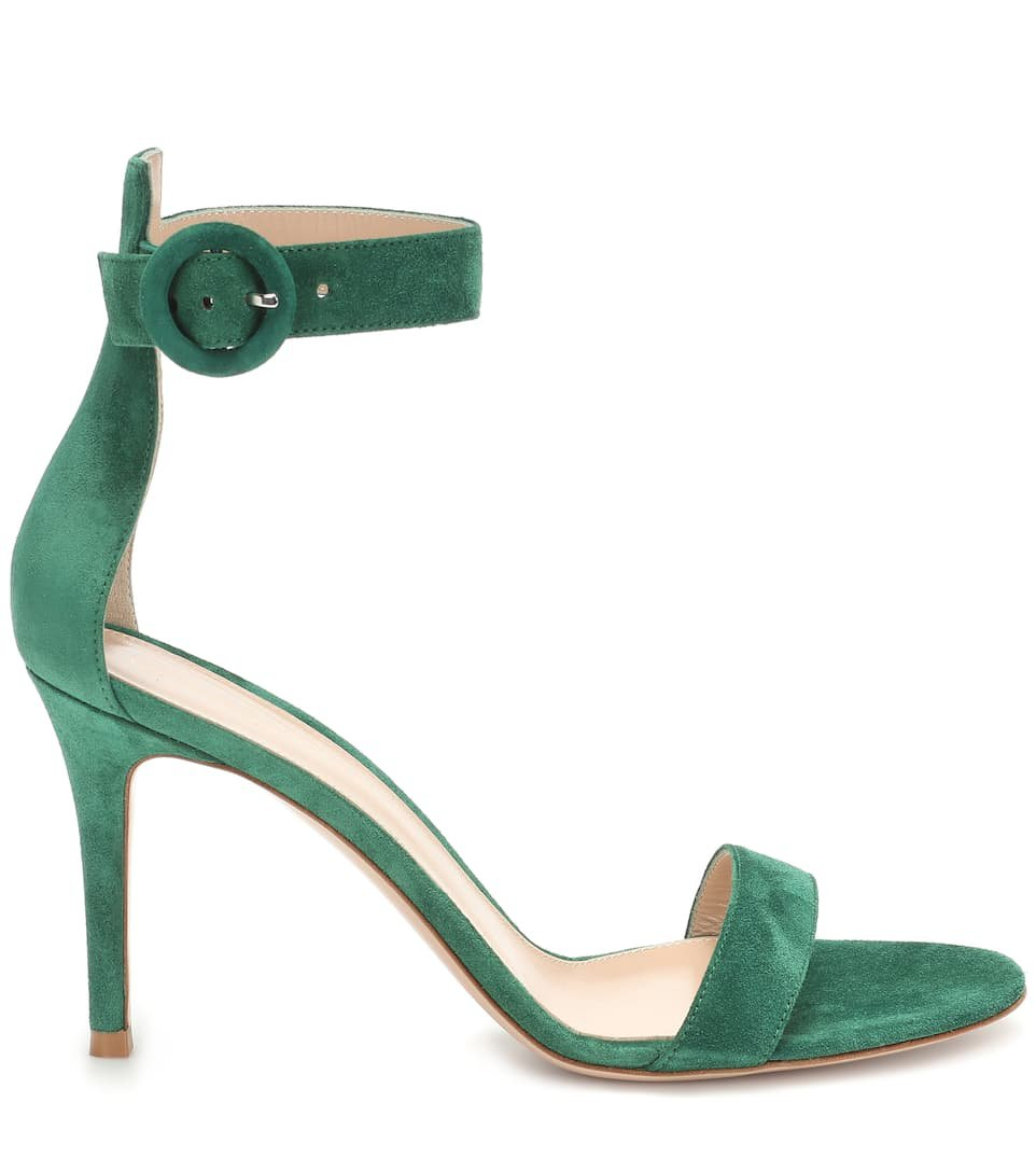 Gianvito Rossi - Portofino 85 suede sandals | Mytheresa