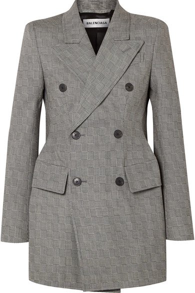 Balenciaga | Hourglass double-breasted checked wool blazer | NET-A-PORTER.COM