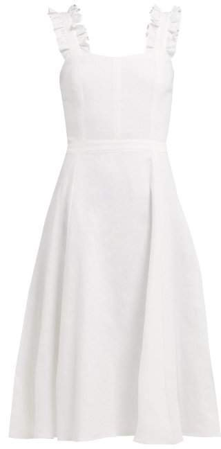 Ephemera - Bloom Ruffled Linen Dress - Womens - Ivory