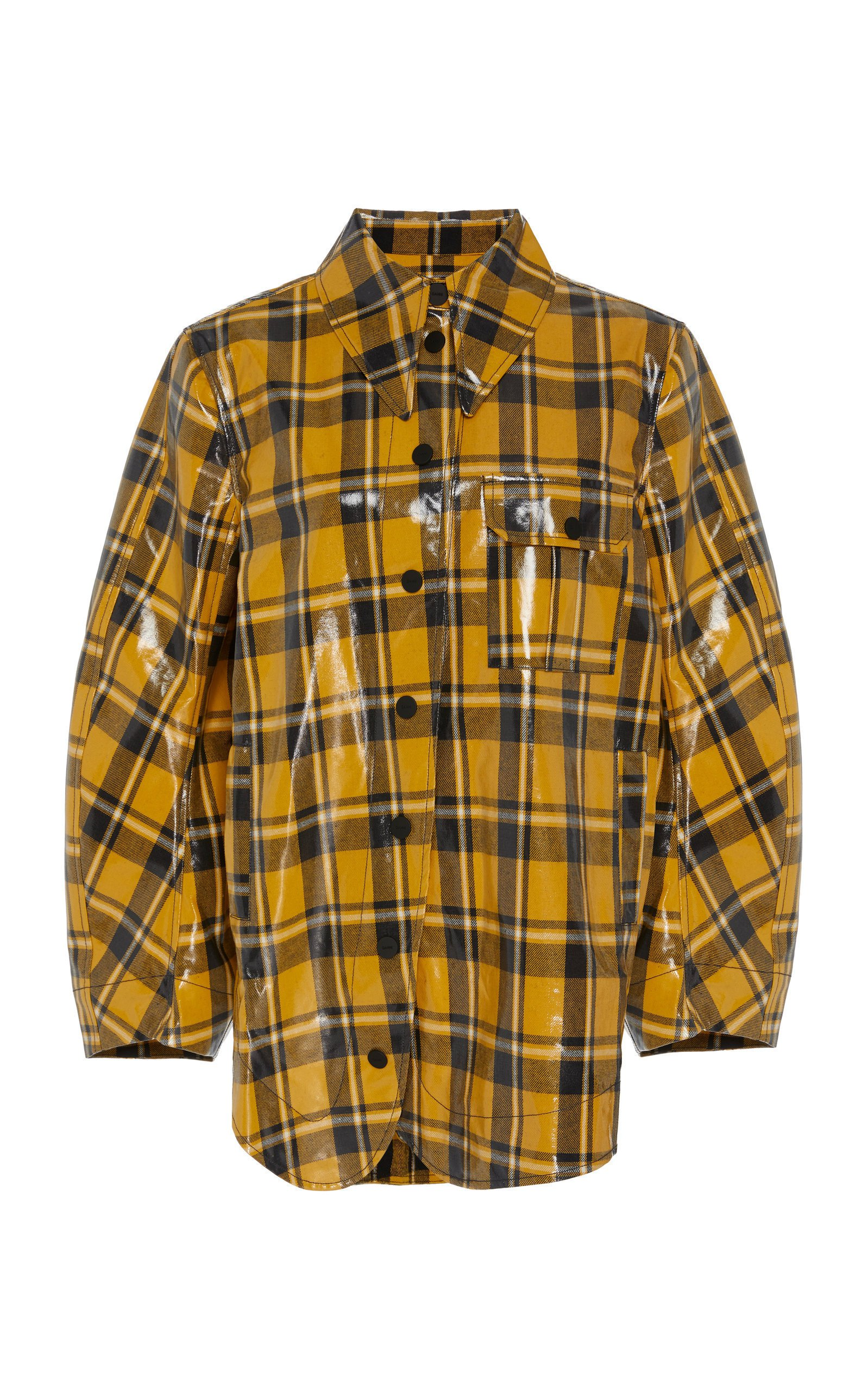 Ganni Coated Plaid Jacket