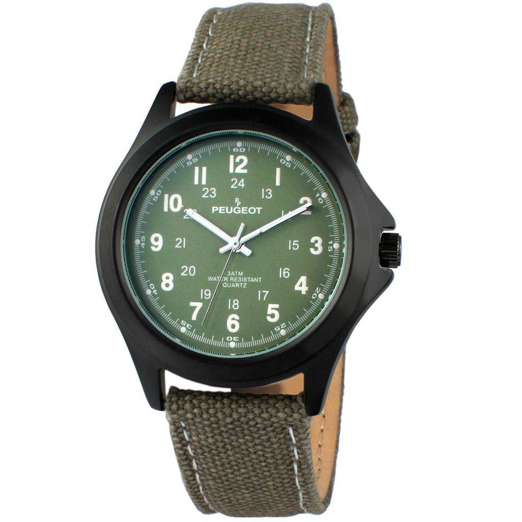 24 Hour Military Canvas Strap Peugeot Watch in Green