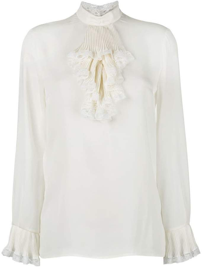 georgette and lace trim blouse
