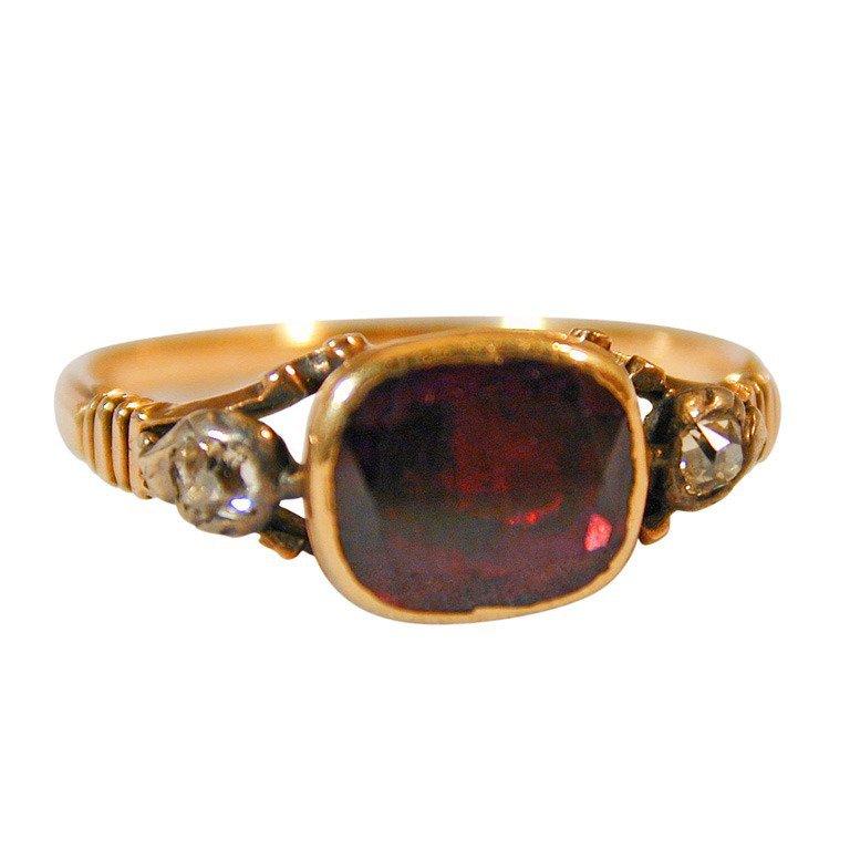Antique Garnet Basket Set Ring with Diamonds For Sale at 1stdibs