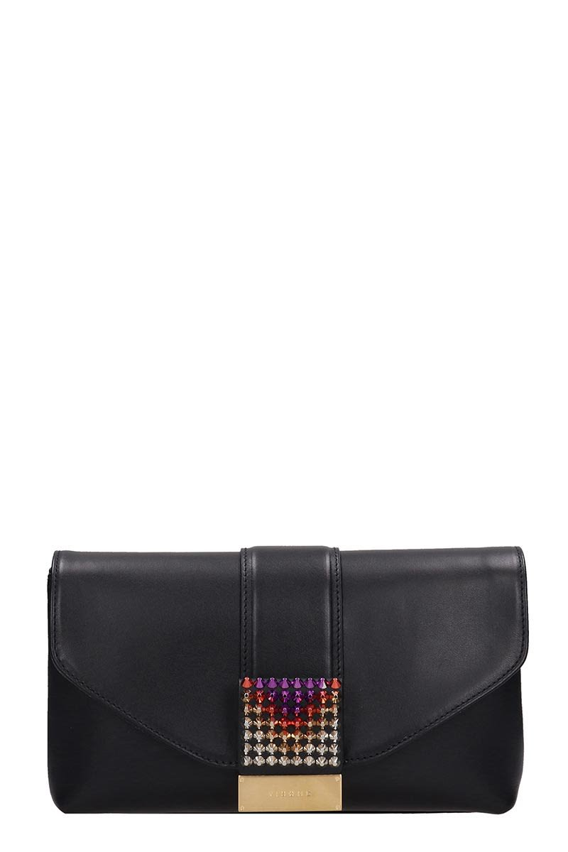 Visone Black Leather Giselle Clutch Bag
