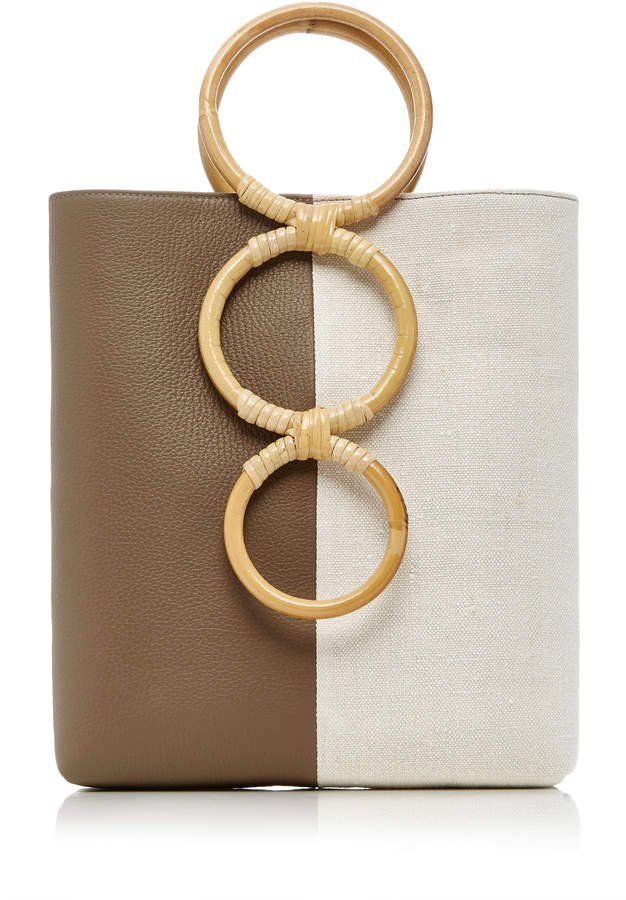 Petra Mini Leather Tote Bag With Bamboo Handles