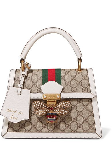 Gucci | Queen Margaret textured leather-trimmed printed coated-canvas tote | NET-A-PORTER.COM
