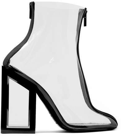 Void Two-tone Pvc Ankle Boots - Black