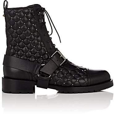 Women's Rockstud Spike Leather Combat Boots - Black