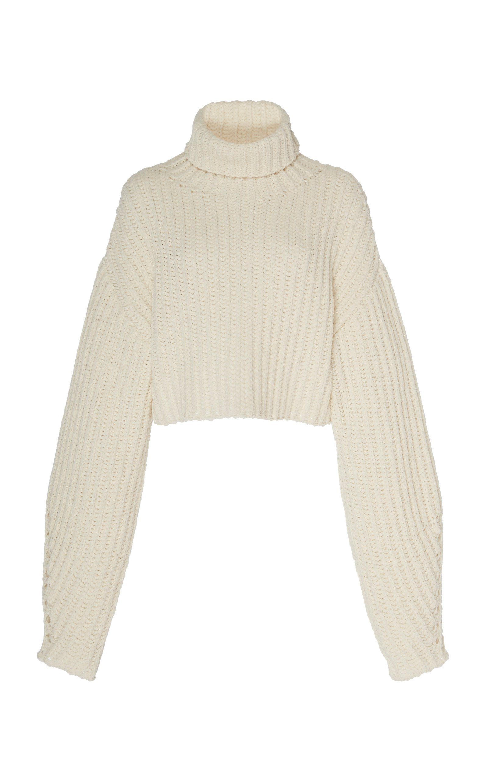 Sally LaPointe Silk Cashmere Cord Cropped High Neck Sweater