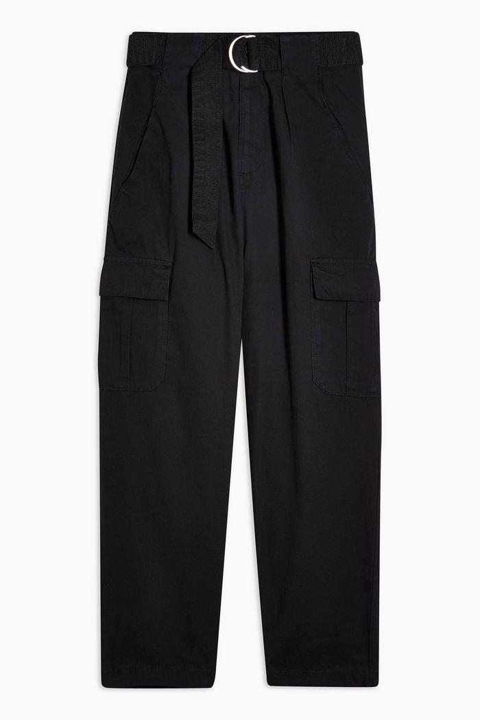Black D-Ring Utility Trousers | Topshop black