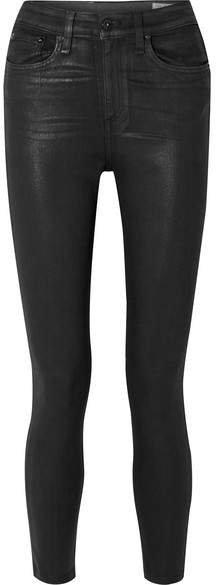 Nina Coated High-rise Skinny Jeans - Black