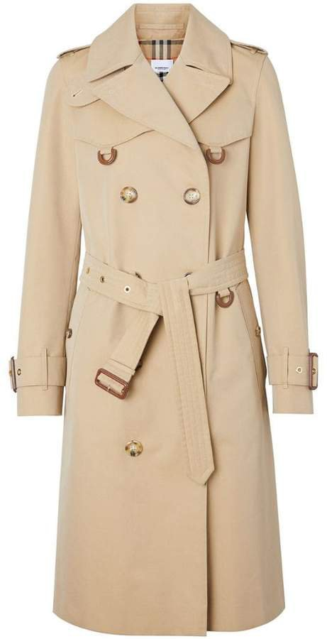 Leather D-ring Detail Cotton Gabardine Trench Coat