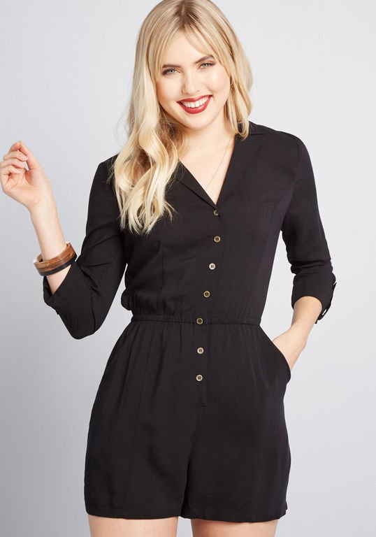 So Field With Joy Romper in Black | ModCloth