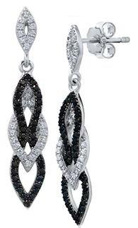 Black and silver diamond earrings