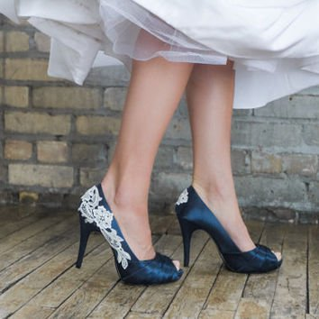 Navy Blue and Silver Flower Heels