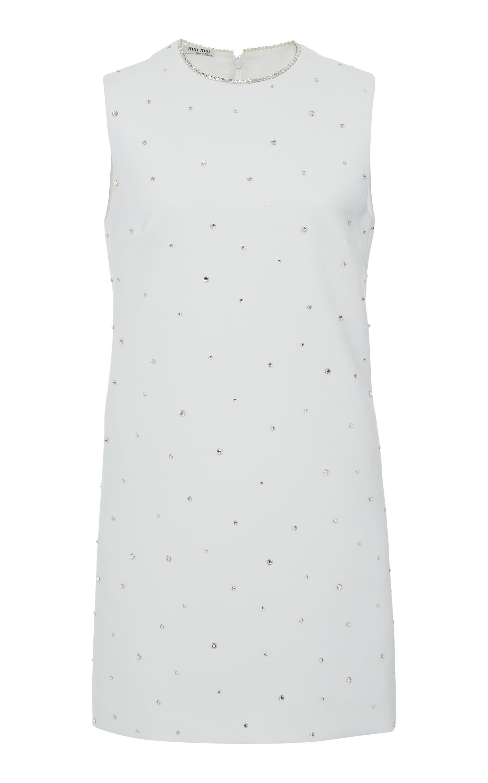 Miu Miu Crystal Embellished Mini Shift Dress