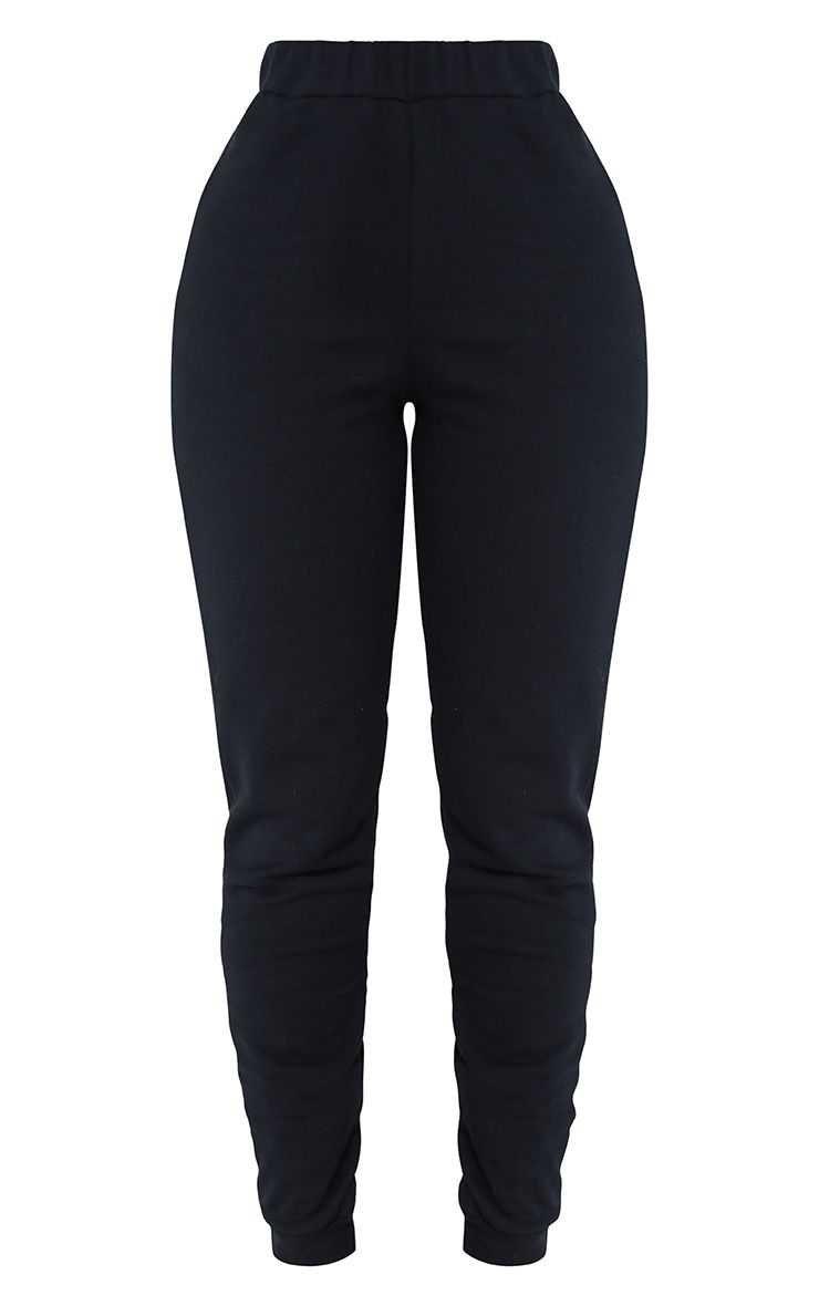 Shape Black Elastic Bottom Joggers   Curve   PrettyLittleThing