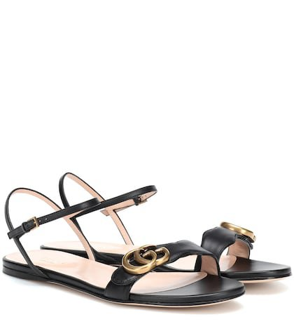 Double G strap leather sandals