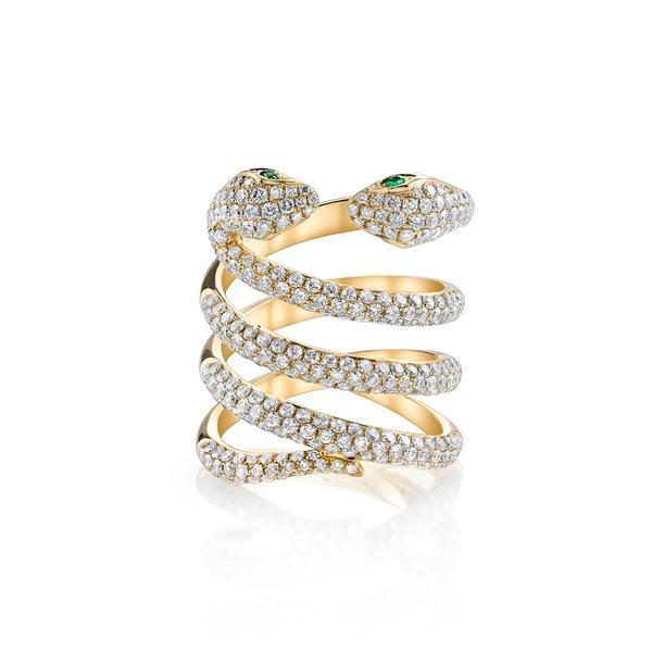 DOUBLE-HEAD DIAMOND COIL SNAKE RING - Anita Ko