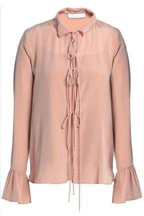 Bow-detailed Silk Crepe De Chine Blouse