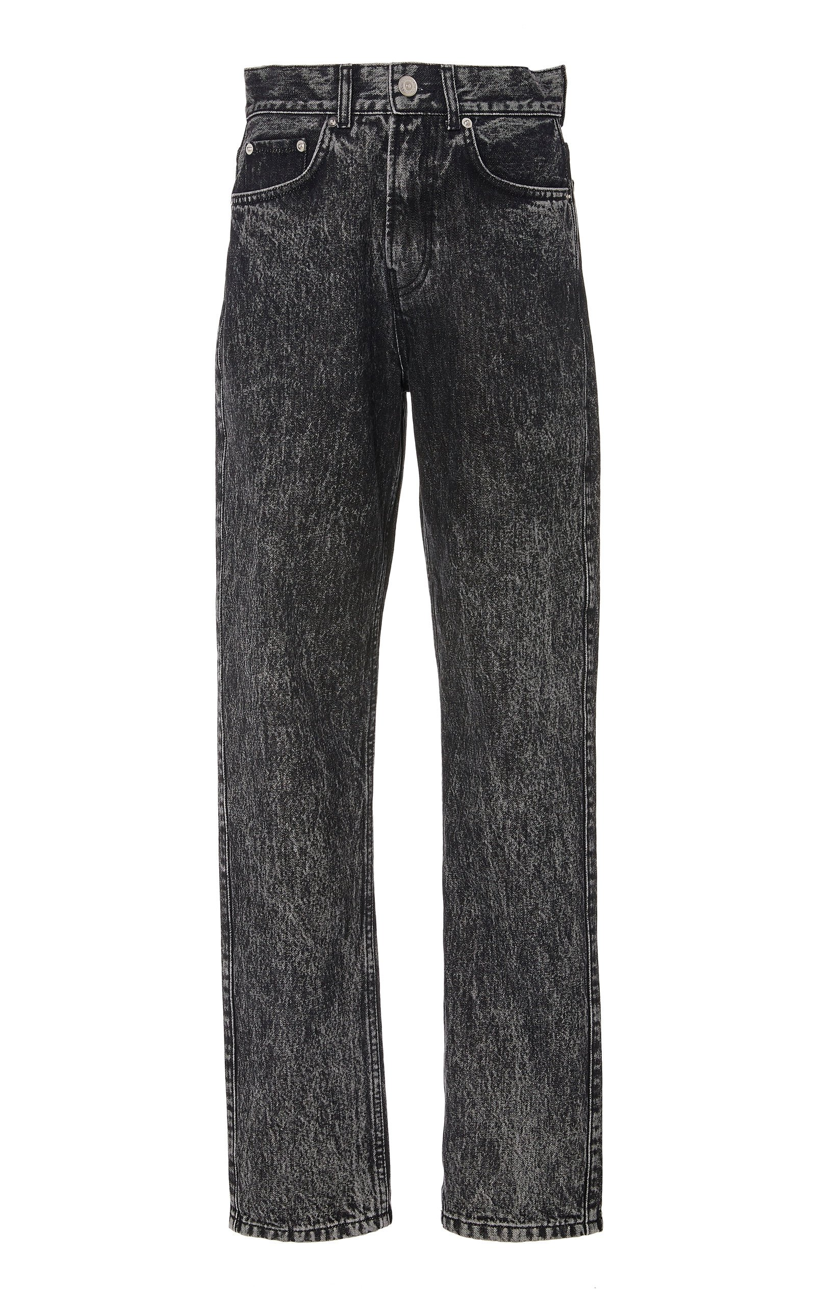 Ganni Washed Mid-Rise Straight-Leg Jeans