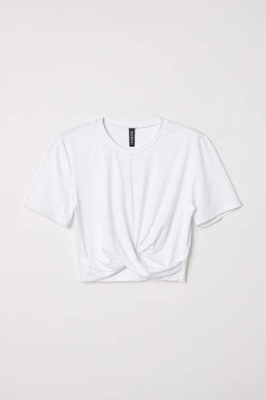 Jersey Top with Knot Detail - White