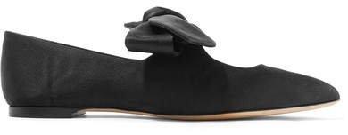 Elodie Bow-embellished Satin Ballet Flats - Black