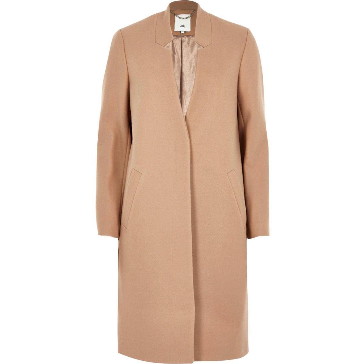 Camel knit collarless longline coat - Coats - Coats & Jackets - women
