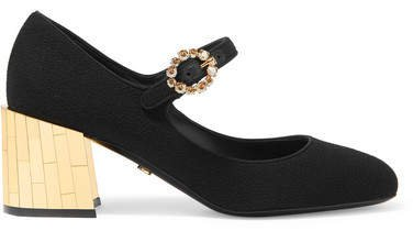 Crystal-embellished Crepe Mary Jane Pumps - Black