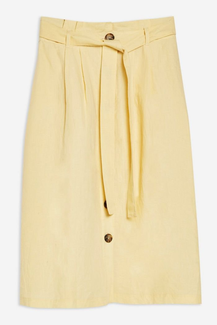Button Midi Skirt with Linen | Topshop yellow