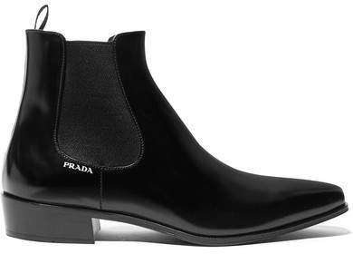 Glossed-leather Chelsea Boots - Black