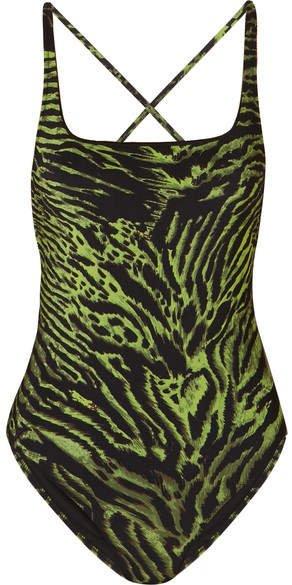 Tiger-print Swimsuit - Green