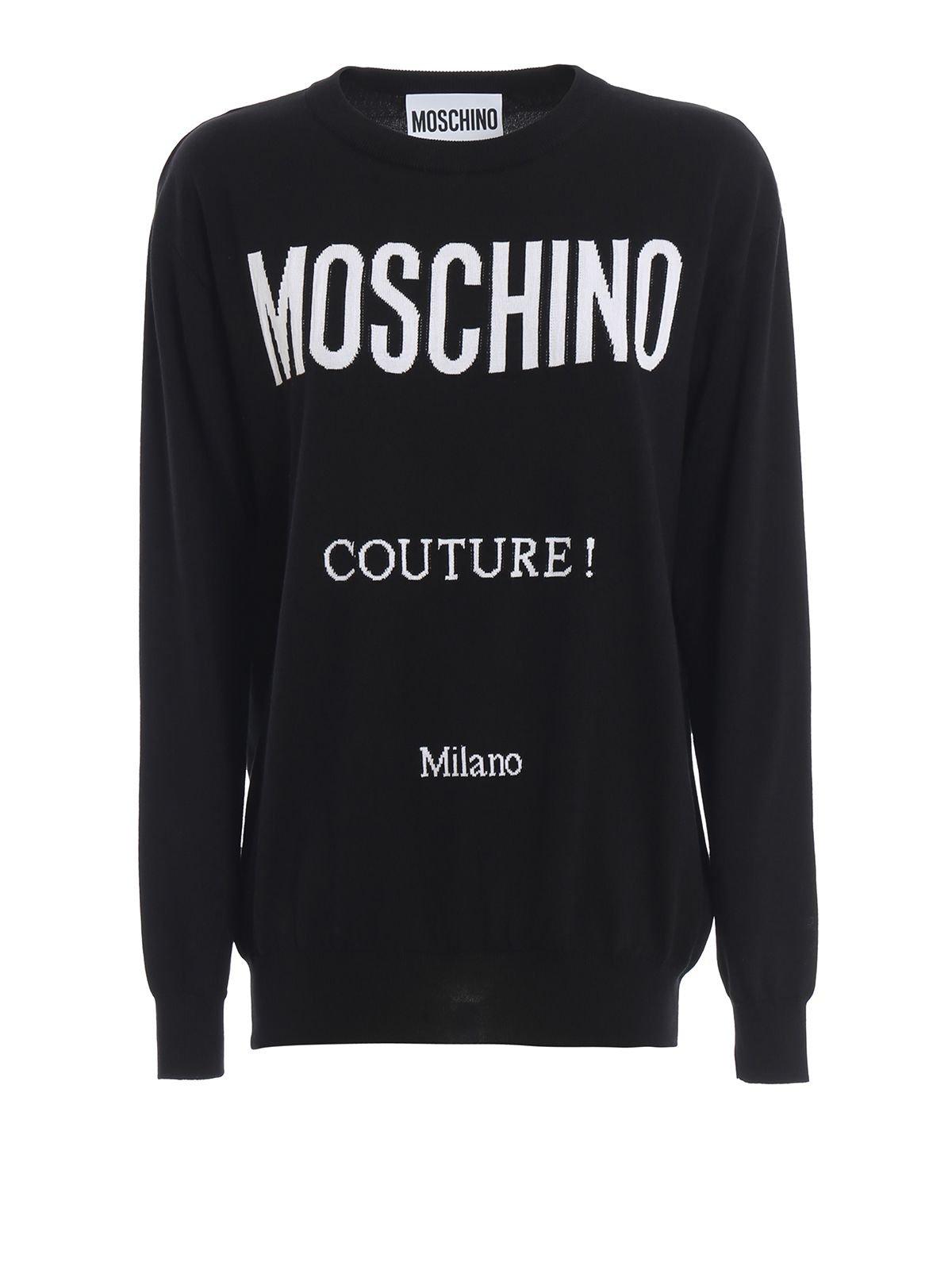 Moschino Logo Intarsia Black Cotton Sweater