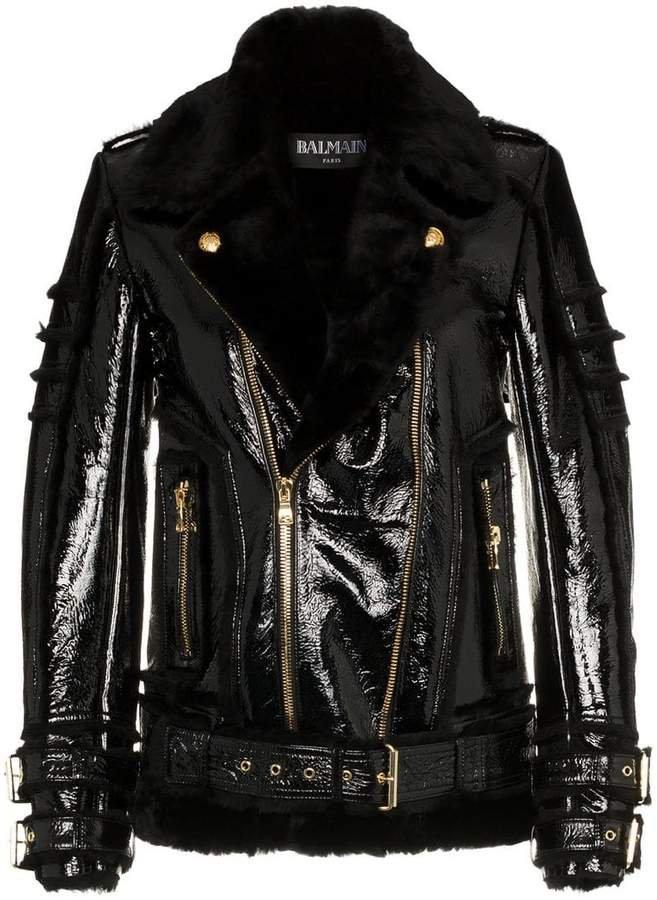 shearling trim leather biker jacket