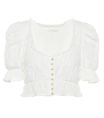 Broderie anglaise cotton crop top