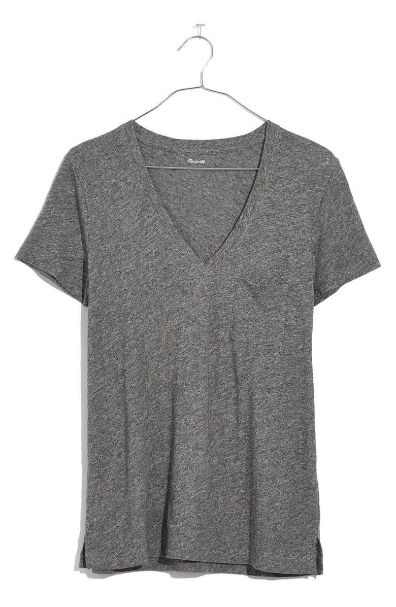 Madewell Whisper Cotton V-Neck Pocket Tee (Regular & Plus Size) grey
